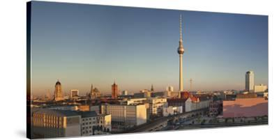 View over Alexanderstrasse to TV Tower, Rotes Rathaus (Red Town Hall), Hotel Park Inn and Alexa sho-Markus Lange-Stretched Canvas Print