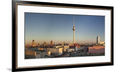 View over Alexanderstrasse to TV Tower, Rotes Rathaus (Red Town Hall), Hotel Park Inn and Alexa sho-Markus Lange-Framed Premium Photographic Print