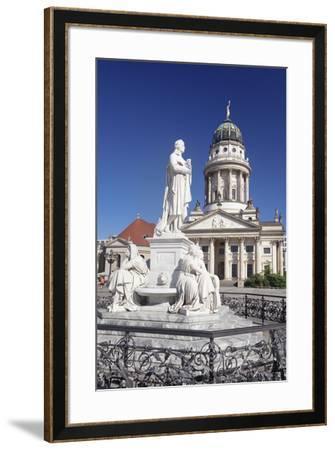 Franzoesischer Dom (French Cathedral), Schiller memorial, Gendarmenmarkt, Mitte, Berlin, Germany, E-Markus Lange-Framed Photographic Print