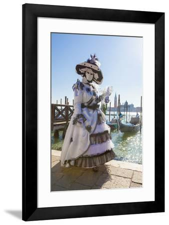 Colourful mask and costume of the Carnival of Venice, famous festival worldwide, Venice, Veneto, It-Roberto Moiola-Framed Photographic Print