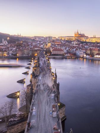 Vltava River and by Charles Bridge at sunset, UNESCO World Heritage Site, Prague, Czech Republic, E-Roberto Moiola-Framed Photographic Print