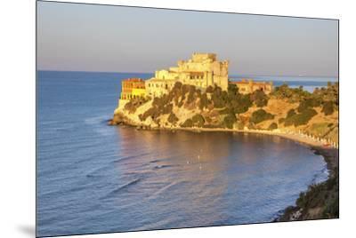 Sunrise on turquoise sea frames the medieval Falconara Castle, Butera, Province of Caltanissetta, S-Roberto Moiola-Mounted Photographic Print
