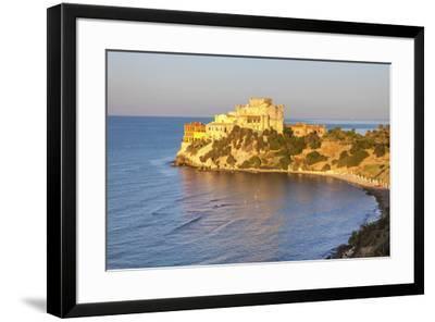 Sunrise on turquoise sea frames the medieval Falconara Castle, Butera, Province of Caltanissetta, S-Roberto Moiola-Framed Photographic Print