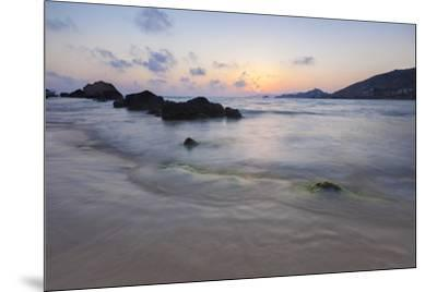The last lights of the sunset are reflected on sea waves and sandy beach, Licata, Province of Agrig-Roberto Moiola-Mounted Photographic Print
