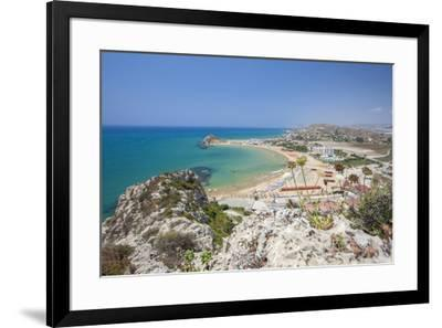 The cliffs frame the turquoise sea and the sandy beach of Licata, Province of Agrigento, Sicily, It-Roberto Moiola-Framed Photographic Print