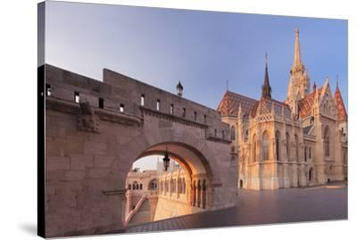 Matthias Church, Fisherman's Bastion, Buda Castle Hill, Budapest, Hungary, Europe-Markus Lange-Stretched Canvas Print