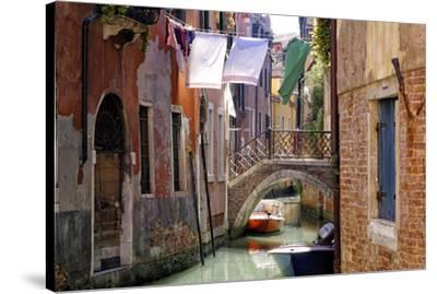 Clothes lines, Venice, UNESCO World Heritage Site, Veneto, Italy, Europe-Hans-Peter Merten-Stretched Canvas Print