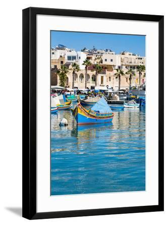 Traditional brightly painted fishing boats in the harbour at Marsaxlokk, Malta, Mediterranean, Euro-Martin Child-Framed Photographic Print