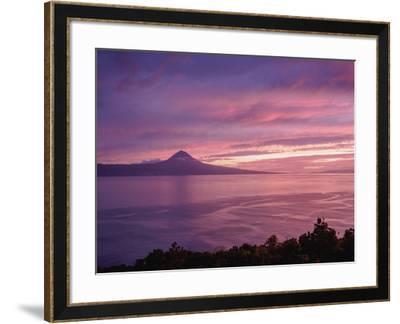 View towards the Pico Island at sunset, Sao Jorge Island, Azores, Portugal, Atlantic, Europe-Karol Kozlowski-Framed Photographic Print