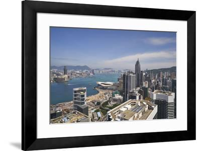 Hong Kong skyline just before sunrise looking from Hong Kong Island across Victoria Harbour to Kowl-Fraser Hall-Framed Photographic Print