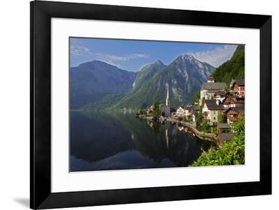 Town of Hallstatt, UNESCO World Heritage Site, on Lake Hallstatt, Salzkammergut, Upper Austria, Aus-Hans-Peter Merten-Framed Photographic Print