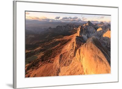 Aerial view of Roda Di Vael at sunset, Catinaccio Group (Rosengarten), Dolomites, South Tyrol, Ital-Roberto Moiola-Framed Photographic Print