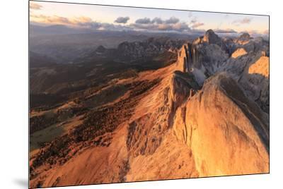 Aerial view of Roda Di Vael at sunset, Catinaccio Group (Rosengarten), Dolomites, South Tyrol, Ital-Roberto Moiola-Mounted Photographic Print