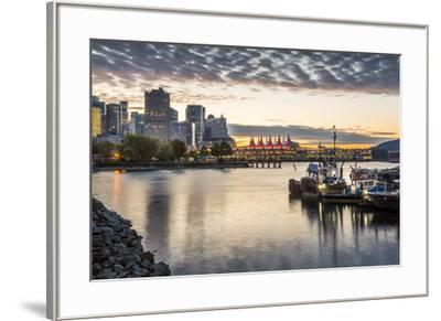 View of Canada Place and urban office buildings at sunset from CRAB Park, Vancouver, British Columb-Frank Fell-Framed Photographic Print