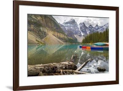 Tranquil setting of rowing boats on Moraine Lake, Banff National Park, UNESCO World Heritage Site, -Frank Fell-Framed Photographic Print
