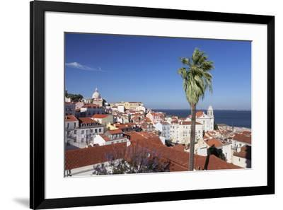 View from Santa Luzia viewpoint over Alfama district to Tejo River, Lisbon, Portugal, Europe-Markus Lange-Framed Photographic Print