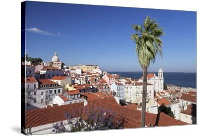 View from Santa Luzia viewpoint over Alfama district to Tejo River, Lisbon, Portugal, Europe-Markus Lange-Stretched Canvas Print