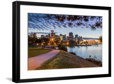 View of city skyline and Vancouver Lookout Tower from CRAB Park at Portside, Vancouver, British Col-Frank Fell-Framed Photographic Print