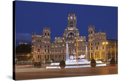 Plaza de la Cibeles, Fountain and Palacio de Comunicaciones, Madrid, Spain, Europe-Markus Lange-Stretched Canvas Print