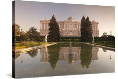 Royal Palace ( Palacio Real), view from Sabatini Gardens (Jardines de Sabatini), Madrid, Spain, Eur-Markus Lange-Stretched Canvas Print