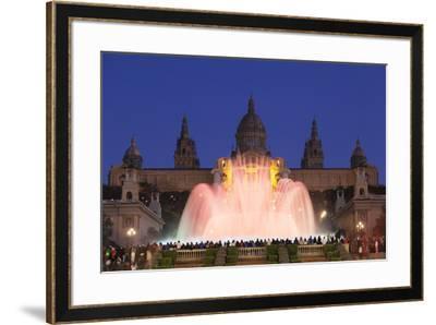 Font Magica (Magic Fountain) at Palau Nacional (Museu Nacional d'Art de Catalunya), Montjuic, Barce-Markus Lange-Framed Photographic Print