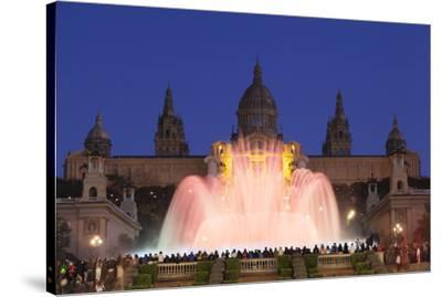 Font Magica (Magic Fountain) at Palau Nacional (Museu Nacional d'Art de Catalunya), Montjuic, Barce-Markus Lange-Stretched Canvas Print