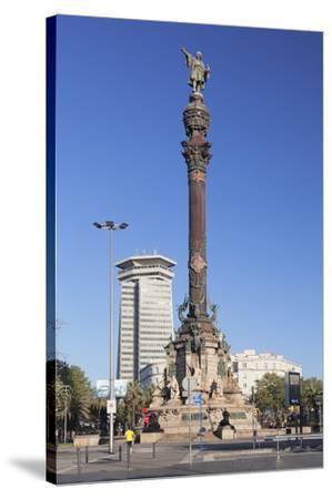 Columbus Monument (Monument a Colom), Placa del Portal de la Pau, Barcelona, Catalonia, Spain, Euro-Markus Lange-Stretched Canvas Print
