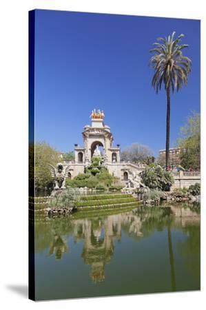 La Cascada, fountain with Quadriga de l'Auroa, architect Josep Fontsere, Parc de la Ciutadella, Bar-Markus Lange-Stretched Canvas Print