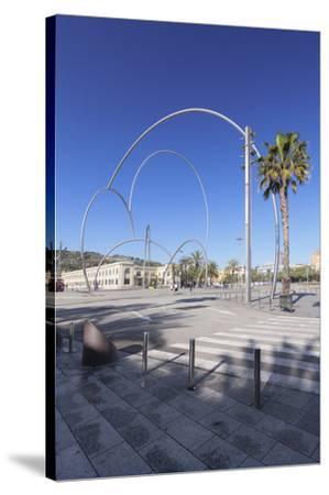 Onades (Waves) sculpture by Andreu Alfaro, Placa del Carbo, Barcelona, Catalonia, Spain, Europe-Markus Lange-Stretched Canvas Print
