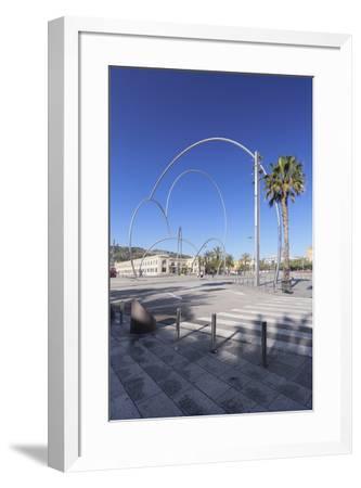 Onades (Waves) sculpture by Andreu Alfaro, Placa del Carbo, Barcelona, Catalonia, Spain, Europe-Markus Lange-Framed Photographic Print