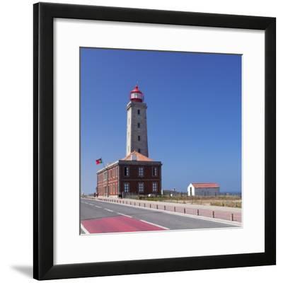 Farol Penedo da Saudade lighthouse, Sao Pedro de Moel, Atlantic Ocean, Portugal, Europe-Markus Lange-Framed Photographic Print