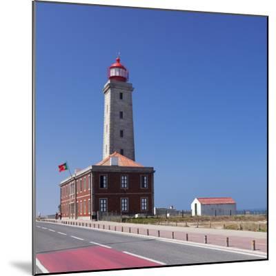 Farol Penedo da Saudade lighthouse, Sao Pedro de Moel, Atlantic Ocean, Portugal, Europe-Markus Lange-Mounted Photographic Print