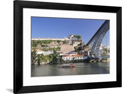 Rabelos boat on Douro River, Serra do Pilar Monstery, Ponte Dom Luis I Bridge, UNESCO World Heritag-Markus Lange-Framed Photographic Print
