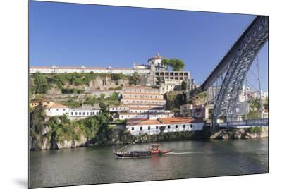 Rabelos boat on Douro River, Serra do Pilar Monstery, Ponte Dom Luis I Bridge, UNESCO World Heritag-Markus Lange-Mounted Photographic Print