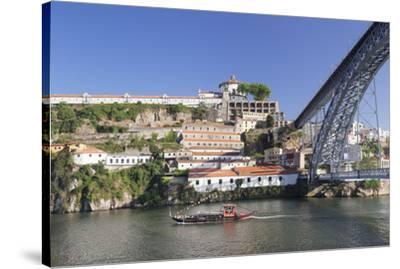 Rabelos boat on Douro River, Serra do Pilar Monstery, Ponte Dom Luis I Bridge, UNESCO World Heritag-Markus Lange-Stretched Canvas Print
