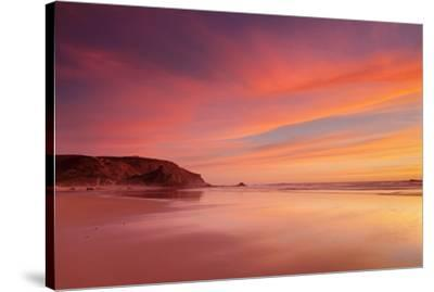 Praia do Amado beach at sunset, Carrapateira, Costa Vicentina, west coast, Algarve, Portugal, Europ-Markus Lange-Stretched Canvas Print
