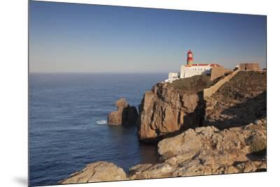 Lighthouse at sunrise, Cabo de Sao Vicente, Sagres, Algarve, Portugal, Europe-Markus Lange-Mounted Photographic Print