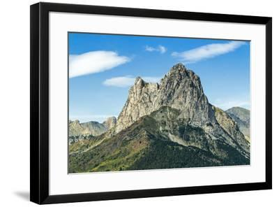 The 2341m limestone peak Pena Foratata, a great landmark in scenic upper Tena Valle, Sallent de Gal-Robert Francis-Framed Photographic Print