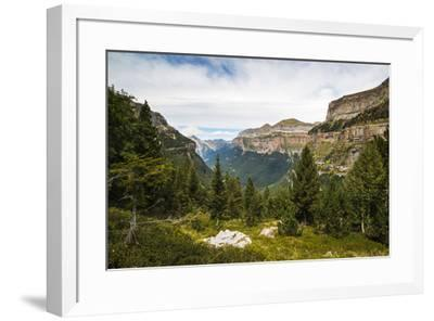 View west along the Ordesa Valley to distant Mondarruego and Otal peaks, Ordesa National Park, Pyre-Robert Francis-Framed Photographic Print