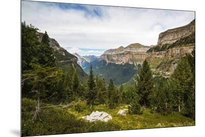 View west along the Ordesa Valley to distant Mondarruego and Otal peaks, Ordesa National Park, Pyre-Robert Francis-Mounted Photographic Print