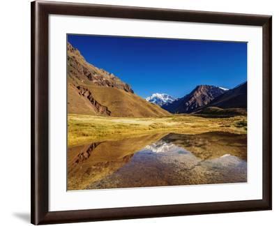 Aconcagua Mountain reflecting in the Espejo Lagoon, Aconcagua Provincial Park, Central Andes, Mendo-Karol Kozlowski-Framed Photographic Print