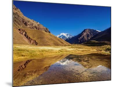 Aconcagua Mountain reflecting in the Espejo Lagoon, Aconcagua Provincial Park, Central Andes, Mendo-Karol Kozlowski-Mounted Photographic Print