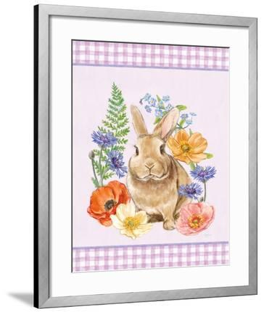 Sunny Bunny II Checker Border Purple-Mary Urban-Framed Art Print