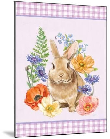 Sunny Bunny II Checker Border Purple-Mary Urban-Mounted Art Print