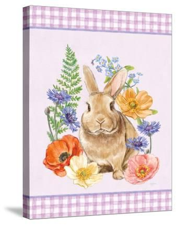 Sunny Bunny II Checker Border Purple-Mary Urban-Stretched Canvas Print