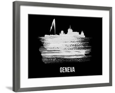Geneva Skyline Brush Stroke - White-NaxArt-Framed Art Print