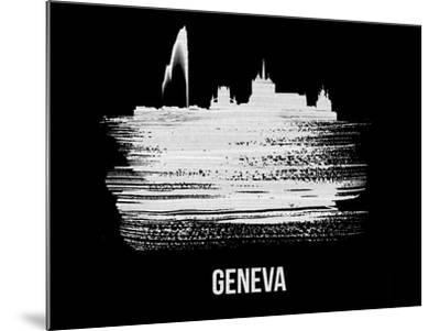 Geneva Skyline Brush Stroke - White-NaxArt-Mounted Art Print