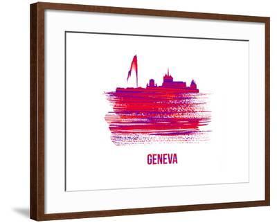 Geneva Skyline Brush Stroke - Red-NaxArt-Framed Art Print