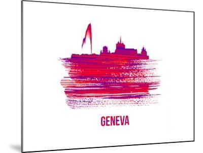 Geneva Skyline Brush Stroke - Red-NaxArt-Mounted Art Print