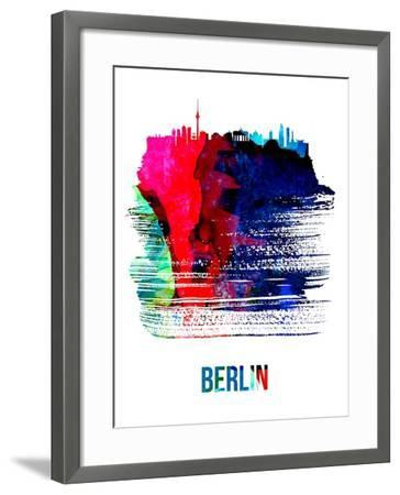 Berlin Skyline Brush Stroke - Watercolor-NaxArt-Framed Art Print